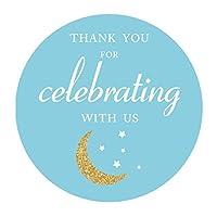 MAGJUCHE ブルー「Thank You I Love You to The Moon and Back」ステッカー 男の子 ベビーシャワー 誕生日パーティー 記念品 ステッカーラベル 2インチ 40枚パック