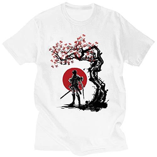 Firovps Men's Attack on Titan Japanese Anime Printed Short Sleeve Comfrotable T-Shirt,White,XL