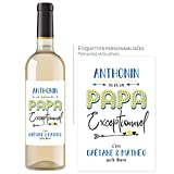 Bouteille de vin personnalisée avec prénom - Idée cadeau fête des pères - Papa exceptionnel