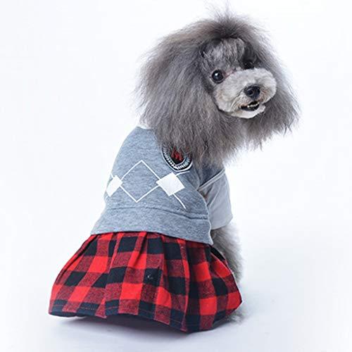 NGTFSNH Mascota Perro Ropa de Cuatro pies Cachorro Otoño e Invierno Celosía Campus Parejas Ropa Mascota Perro Capa del Traje del Animal doméstico (Color : Girls, Size : S:12 24x35x25cm)