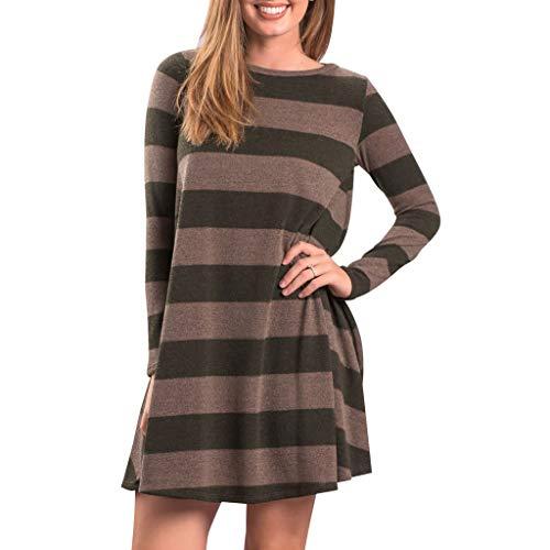 clacce Damen Plaid Langarm Herbst Vintage Kleid Pulloverkleid Damen Kleider Elegant Strickkleid V-Ausschnitt Langarm Tunika Kleid Minikleid Mit Gürtel