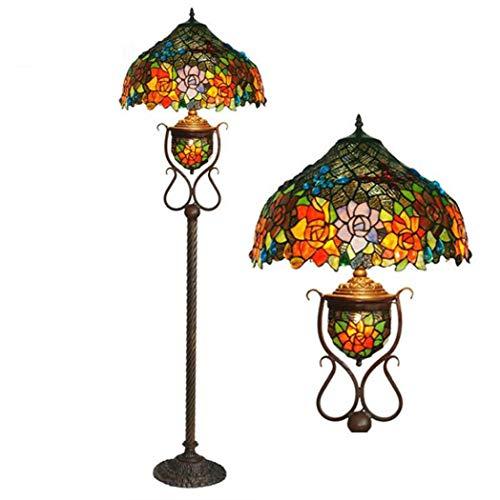 GJX vloerlamp in Tiffany-stijl, 17 inch, design van getint glas, handgemaakt/vlinder, retro-lampen, met metalen sokkel, bronskleurig, voor binnenverlichting, E27X2, E12X1
