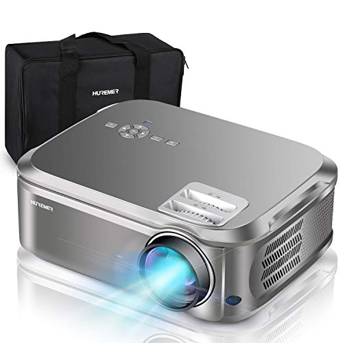 HUREMER Native 1080P Projector, 6800 Lumens Full HD Video Projector with 200' Display and 4D Keystone Correction, Perfect for Home Theater, Business PPT, Games