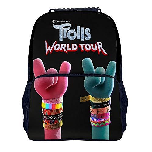TRO-lls Wor-ld to-ur Mochila de viaje de moda para hombres y mujeres, mochila escolar clásica de 40,6 cm para estudiantes (15,7 x 11 pulgadas), Negro-estilo1-1 (Blanco) - IWEOJWIOJGW
