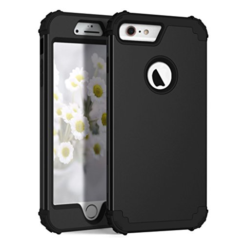 AWINNING iPhone 6 Plus iPhone 6s Plus Case Heavy Duty Shockproof Armor Defender 3in 1 Hybrid Hard PC & Soft Silicone Full Body Protective Phone Case for iPhone 6/6s Plus 5.5 inch –Black