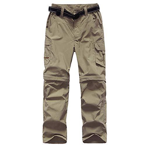 FLYGAGA Jungen Wanderhose Cabriolet Hose Outdoor Hose Zip Off Quick Dry Leichte Kinderhose für Wandern Trekking Klettern Gr. XXS (4-5 Jahre), Khaki