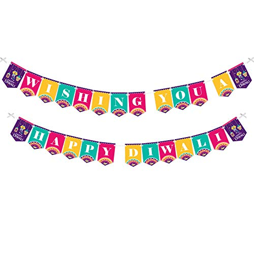 Big Dot of Happiness Happy Diwali - Festival of Lights Party Bunting Banner - Party Decorations - Wishing You a Happy Diwali