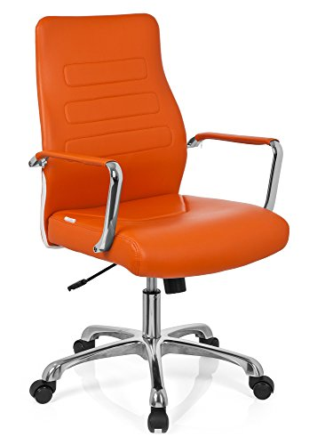 hjh OFFICE 720010 Chefsessel TEWA Kunstleder Orange/Chrom moderner Bürostuhl, niedrige Rückenlehne ergonomisch