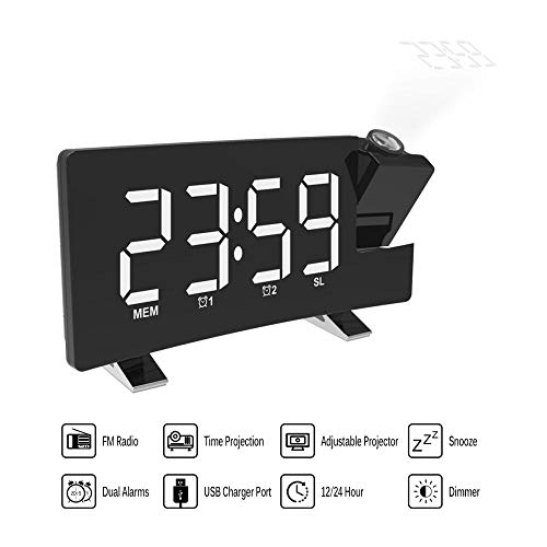 FPRW LCD-projectie-LED-display tijd digitale wekker, sprekende voice oproeping, thermometer weergave sluimerfunctie tafelklokken, wit