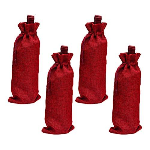 BESPORTBLE 10 STÜCKE Wein Taschen Jute Weinflasche Taschen mit Kordelzug Wiederverwendbare Wein Totes Flasche Wrap Geschenk Beutel Champagner Wein Taschen Claret