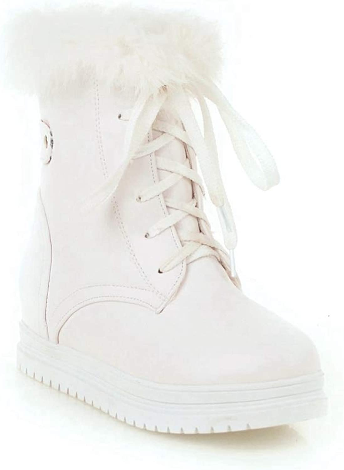 GIY Women's Winter Platform Combat Ankle-High Waterproof Snow Boots Fashion Punk Lace-up Short Motorcycle Martin Boots