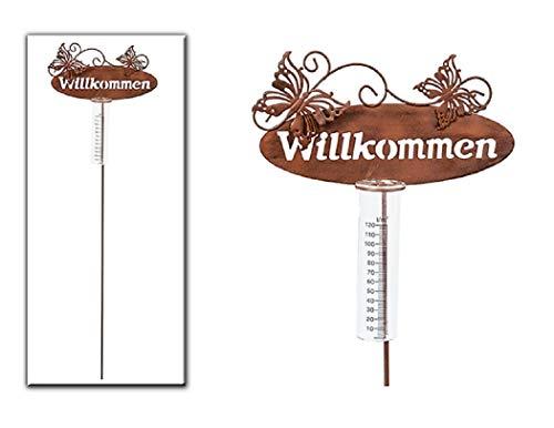 Geschenk-Himmel Gartenstecker Regenmesser Willkommen mit Zwei Schmetterlinge aus Metall