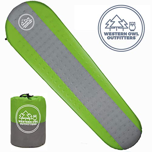 Western Owl Outfitters Best Self Inflating Sleeping pad Lightweight Camping Foam pad- Best for Camping Backpacking & Hiking. R Value of 4.9 - Inflatable Camping Mattress (Green, Large)