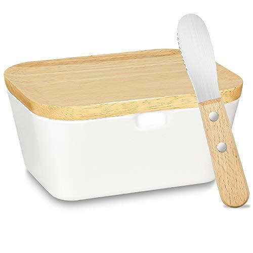 WILTEEXS Butterdose für 200 g Butter, Holzdeckel mit Silikon-Dichtlippe, mit Buttermesser, Multi-Funktion Butterschale, bruchsicherer als Jede Butterdose Porzellan, Weiß