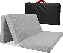 Surpcos Tri-fold Pack n Play Mattress Pad, Trifold Mattress Pad with Storage Bag, Portable Playard Mattress for Babies Infants or Toddlers, Foldable N Play Mattress for Crib, Grey 38.5