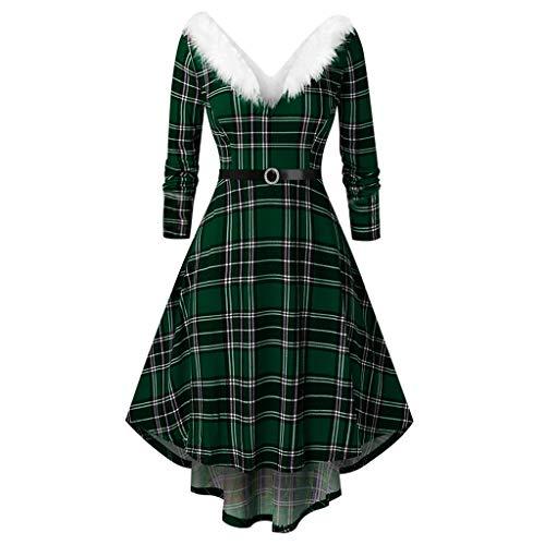 Zegeey Damen Rockabilly Partykleider äRmellose Schulterfrei Plaid Drucken Mittelalter Gothic Jahrgang UnregelmäßIgen Kleid Weihnachten Kleider Cosplay Ballkleid(G2-Grün,5XL)