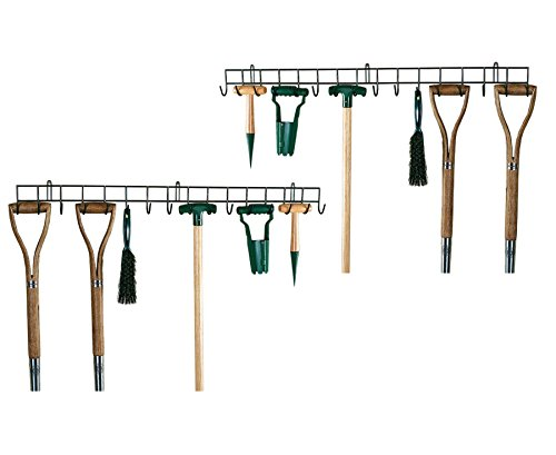 Photo of HENSITA 2 x Extra Long Garden Tool Holders – Wall Mounted Garden Tool Holder, 2x Extra-Long Hanging Rack for your Shed or Garage, Wall Hanging Hook, Storage Metal Organiser