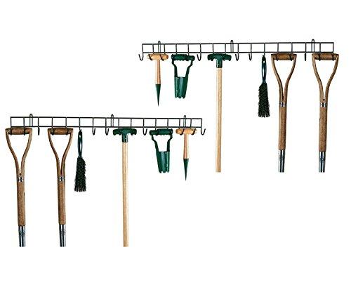 Burwells 2 x Extra Long Garden Tool Holders Hanging Racks Shed Garage Wall Hangers Storage Unit Metal Organiser Tidy 1m Long