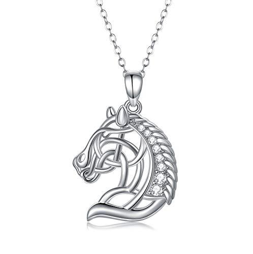 Colgante de cabeza de caballo de plata de ley 925 collares de caballo regalos para mujeres y niñas regalos de cumpleaños para los amantes del caballo ecuestrienne