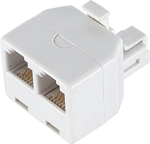 Ge 26191 Duplex Wall Jack Adapter (White, 4-Conductor)