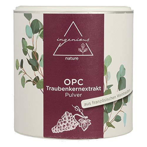 ingenious nature® Laborgeprüftes OPC Traubenkernextrakt Pulver - hochdosiert, 71% OPC Gehalt nach HPLC. Höchster OPC Gehalt auf dem Markt. (200g)