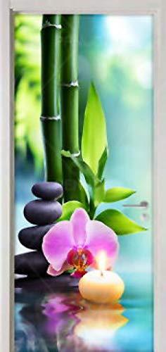 Fantxzcy 3D Türtapete Selbstklebend Türposter Pflanze Bambus Yoga 77X200Cm Abnehmbare Tür Diy Fototapete Türfolie Poster Tapete Haustür Hintergrund Dekorativer Türwandaufkleber