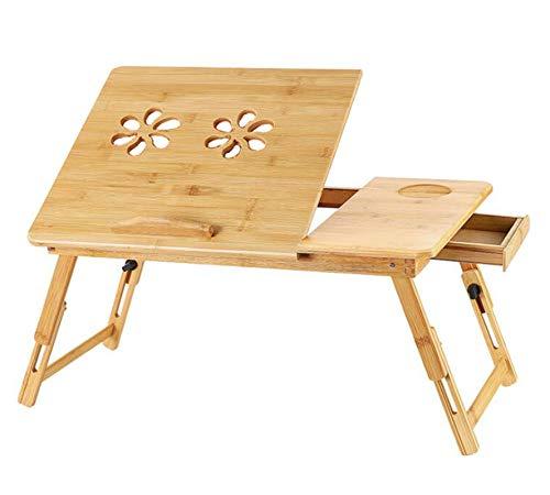 HUNDUN Escritorio para ordenador portátil para cama, servicio de mesa de desayuno para lectura, escritura, comer, bandeja de bambú con cajón superior inclinable (madera)