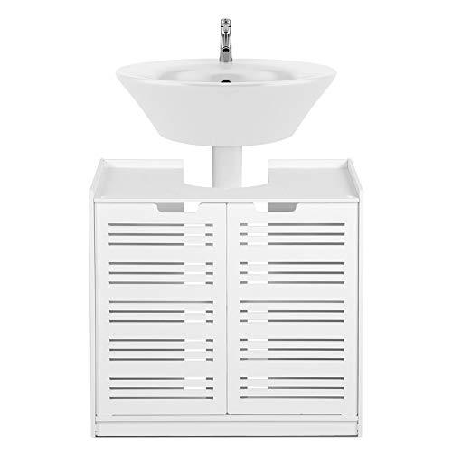 Mueble De Baño Debajo del Fregadero Armario de almacenaje Blanco para Cuarto de baño Mueble De Lavabo De Almacenamiento De Pie Blanco Mueble De Piso con Puerta Doble 60x30x60cm