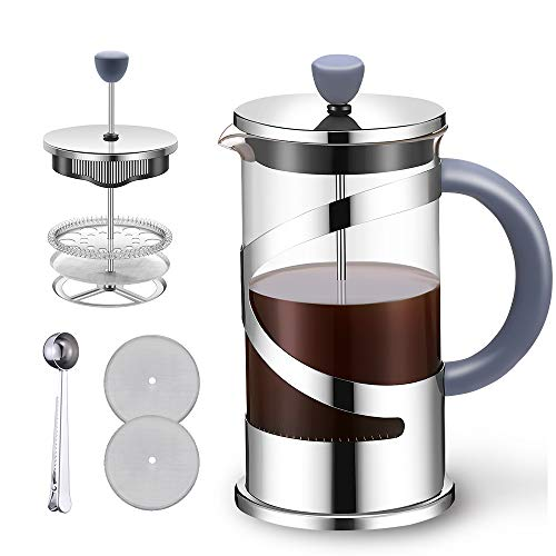 N+A French Press Coffee Maker (34oz), Stainless Steel Coffee Press with Soft Touch and Anti-slip Handle, Durable Easy to Clean Heat Resistant Borosilicate Glass, Silver
