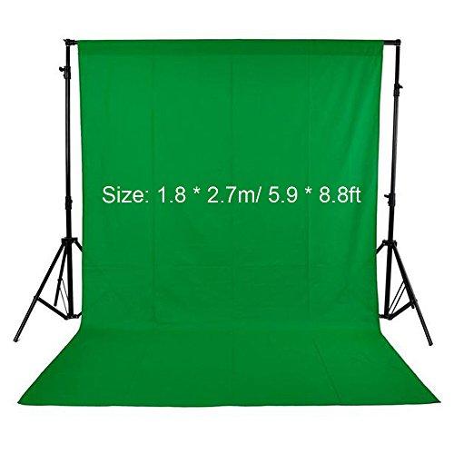 Andoer Croma Verde, 1.8 x 2.7m Telón de Fondo Fotografía, Tela Verde Lavable para Estudio Virtual Producción de Película Juegos(5.9 x 8.8ft)