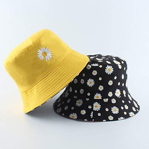 Sombrero de Cubo de Margaritas de Verano para Mujer, Sombreros de Playa de algodón a la Moda, Sombreros de Sol Reversible, Sombrero Floral para Mujer, Sombrero de Pescador-Yellow MJ