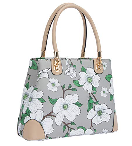 "Medium size tote: 12.6 x 5.1 x 9.4 inches 6.3"" L top double handles; Adjustable & removable cross body strap Gold butterfly ziper; 4 metal feet protectors on bottom Lined interior features one backwall zippered pocket, two slip pockets and middle zip..."