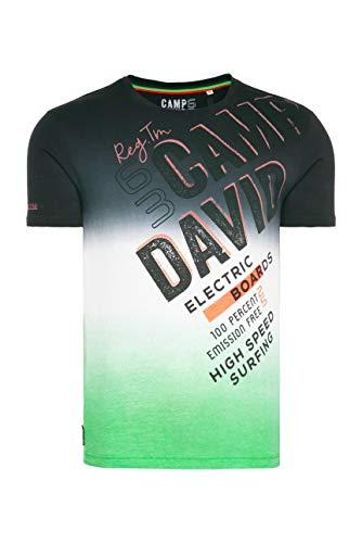 Camp David Herren T-Shirt mit Logo und Dip-Dye-Effekt