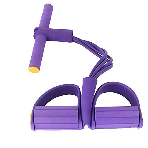 YINQAG Bandas de resistencia para pedales, superligeras, 4 tubo, correa de yoga, cuerda elástica, equipo de fitness para abdomen, cintura, brazo, yoga, estiramiento y adelgazamiento, Púrpura