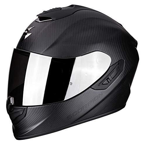 Scorpion EXO-1400 Solid Integralhelm (matt) Schwarz Kohlefaser für Motorroller mit SpeedView Innenvisier Sonnenblende TCT Außenschale XXL