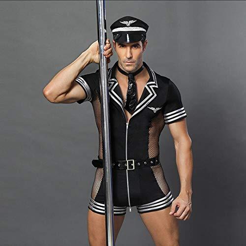 Z-DJJ Costume Cosplay Uniforme da Ufficiale di Polizia Sexy Uomo, Vestito Uniforme da Poliziotto di Halloween con Cintura e Rete, Travestimento (Tuta Taglia Unica)