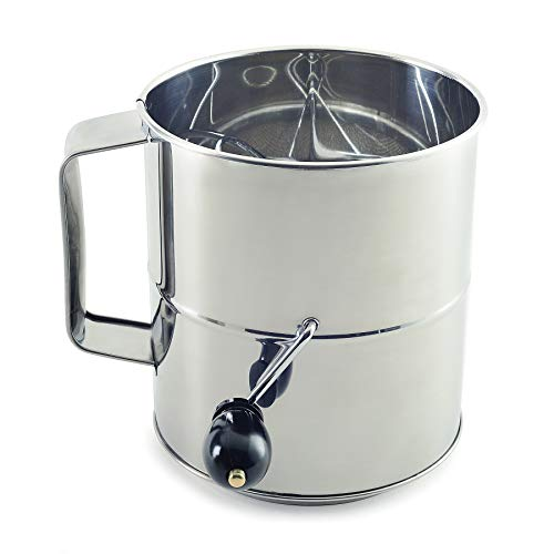 Norpro Polished 8-Cup Stainless Steel Hand Crank Sifter, 64 ounces, As Shown