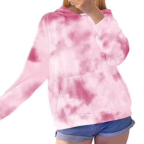 Felpa con Cappuccio Donna Tie Dye Felpa Moda Donna Felpa Neon Pullover Allentato Felpa con Cappuccio Manica Lunga con Tasche M