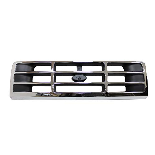 Perfit Liner New Front Upper Chrome Black Grille Grill Compatible With FORD F Series Pickup Truck F-150 Bronco SUV Pickup Truck Fits FO1200173 F4TZ8200A