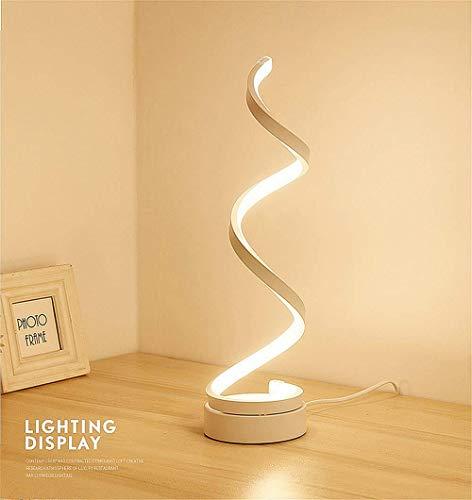 ELINKUME espiral LED lámpara de mesa, curvo LED lámpara de escritorio regulable, diseño minimalista moderno, 12W luz blanca cálida, Creative acrílico LED modelado lámpara de cabecera (blanco)
