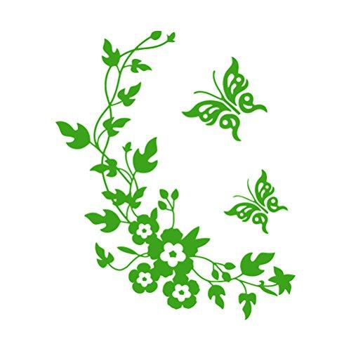 WINOMO WC Sticker Schmetterling Blume Deckel Aufkleber Wandaufkleber Wandtattoo (Hellgrün)