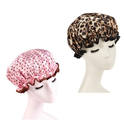 Shelley commerce - Lot de 2 bonnets de bain étanches avec élastique - double épaisseur - pour femmes et filles