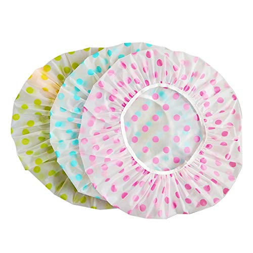TCOTBE 6 Pieces Waterproof EVA Plastic Shower Cap,Elastic Reusable Bathing Hair Cap,Beauty Salon Spa Shower Caps Lace Elastic Band Flower Printed Hat Environmental Protection Hair Bath Caps