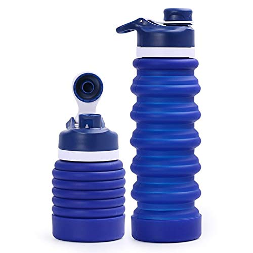 Mdsfe Portable Silicone Collapsible Water Bottle for Sport Outdoor Travel Retractable Folding Bottles My Drinking Bottle Kettle 550ML - 0.55L,DL