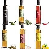 d'annata. Envase de aceite extra virgen y aromatizado . 6 botellas en formato 25 CL. orégano, romero, ajo, limón, guindilla