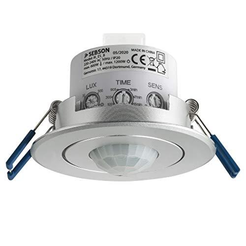 SEBSON® Bewegungsmelder Innen, Unterputz Decken Montage, programmierbar, Infrarot Sensor, Reichweite 6m / 360°, Einbau Bewegungssensor LED geeignet, schwenkbar, 3-Draht