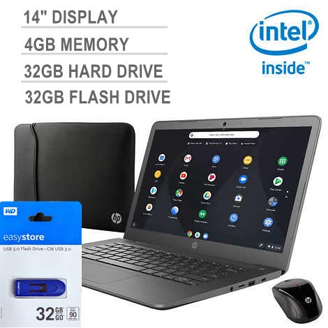 Latest_HP 14' Chromebook FHD, Intel Celeron, 4GB RAM, 32GB Internal Storage, 32GB External, 2xUSB 3.1 Type-A, Chrome OS, Chalkboard Gray, Wireless Mouse & Sleeve Included