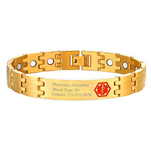 U7 Bracciale Personalizzato con Simbolo Medico Rosso, Acciaio Inossidabile Placcato Oro 18K, Segno di Emergenza Asta di Asclepio, Bracciale Regolabile, per Anziano Paziente Malato (Oro)