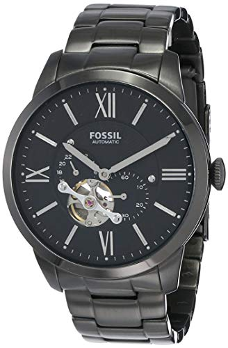 Fossil Men's Townsman Automatic Stainless Steel Two-Hand Subeye Watch, Color: Smoke (Model: ME3172)