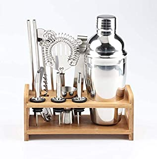 13 Pieces Bartender Kit, Cocktail Shaker Set with Stand | Bar tool Kit,550ml Stainless steel bartender mixer